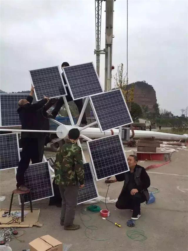 山东泰安太阳能高杆灯安装现场